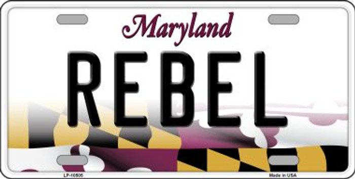 Rebel Maryland Background Metal Novelty License Plate