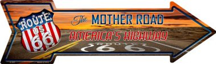 Route 66 With Sunset Novelty Metal Arrow Sign