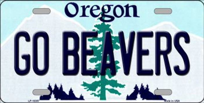 Go Beavers Oregon Background Metal Novelty License Plate