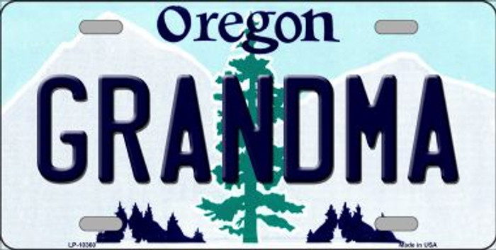 Grandma Oregon Background Metal Novelty License Plate