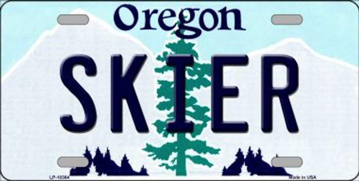 Skier Oregon Background Metal Novelty License Plate
