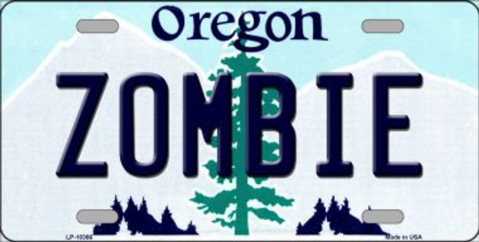 Zombie Oregon Background Metal Novelty License Plate