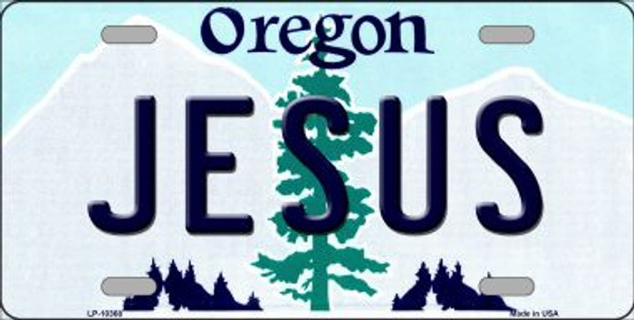 Jesus Oregon Background Metal Novelty License Plate