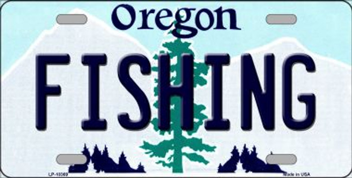 Fishing Oregon Background Metal Novelty License Plate