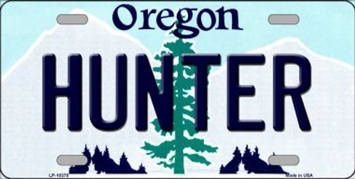 Hunter Oregon Background Metal Novelty License Plate