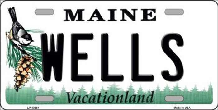 Wells Maine Background Metal Novelty License Plate