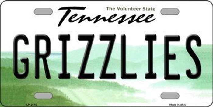 Grizzlies Tennessee Novelty State Background Metal License Plate LP-2576