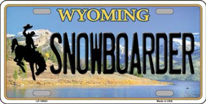 Snowboarder Wyoming Background Metal Novelty License Plate