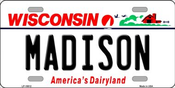 Madison Wisconsin Background Metal Novelty License Plate
