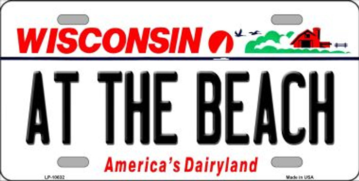 At The Beach Wisconsin Background Metal Novelty License Plate