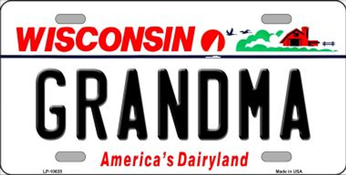 Grandma Wisconsin Background Metal Novelty License Plate