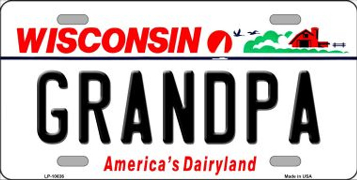 Grandpa Wisconsin Background Metal Novelty License Plate
