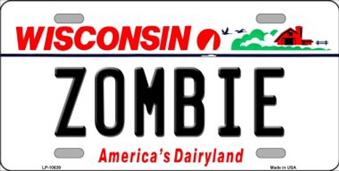 Zombie Wisconsin Background Metal Novelty License Plate
