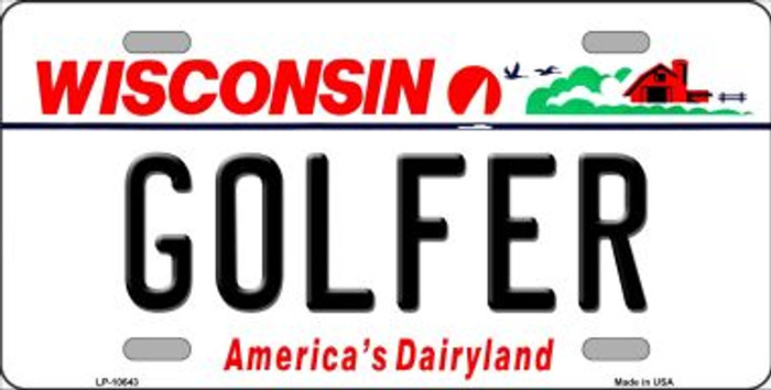 Golfer Wisconsin Background Metal Novelty License Plate