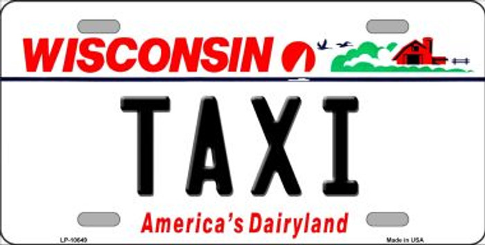 Taxi Wisconsin Background Metal Novelty License Plate
