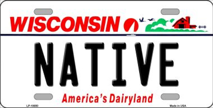 Native Wisconsin Background Metal Novelty License Plate