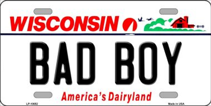 Bad Boy Wisconsin Background Metal Novelty License Plate