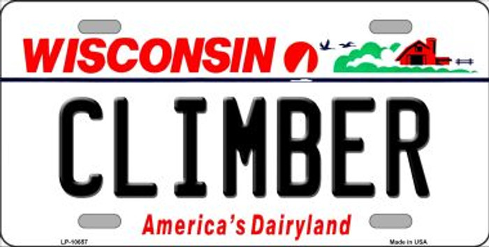 Climber Wisconsin Background Metal Novelty License Plate