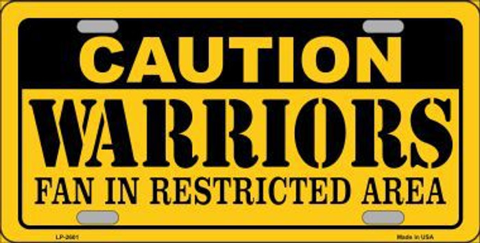 Caution Warriors Fan Metal Novelty License Plate LP-2601