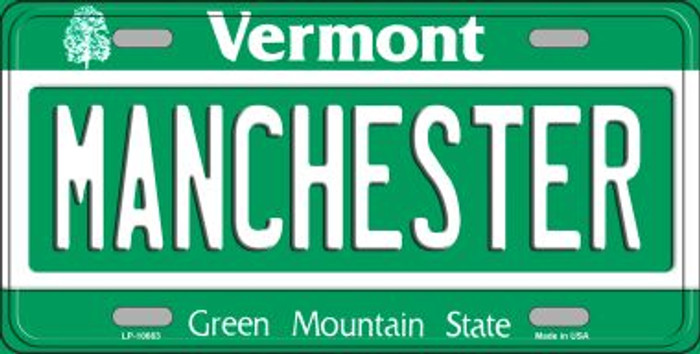 Manchester Vermont Background Metal Novelty License Plate