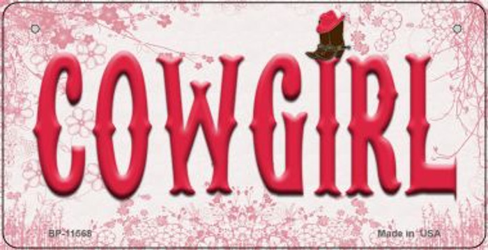 Cowgirl Novelty Metal Bicycle License Plate BP