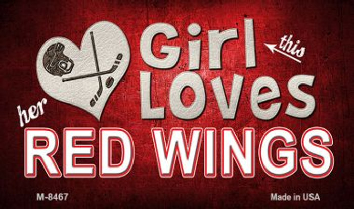 This Girl Loves Her Red Wings Novelty Metal Magnet