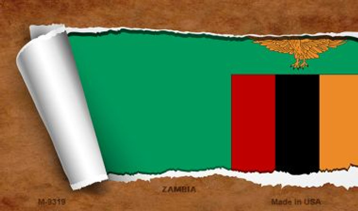 Zambia Flag Scroll Novelty Metal Magnet