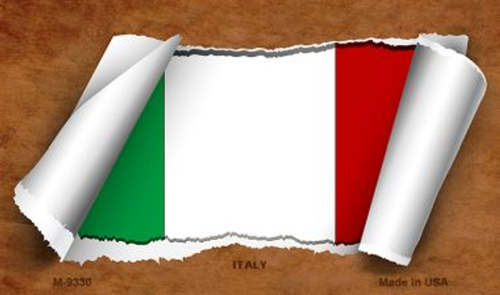 Italy Flag Scroll Novelty Metal Magnet