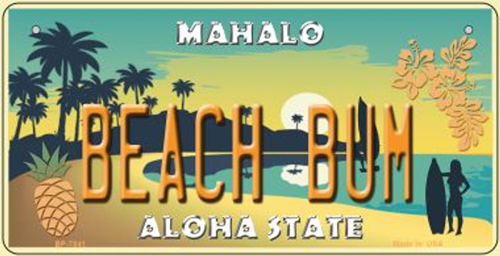 Beach Bum Hawaii Pineapple Background Novelty Metal Bicycle Plate