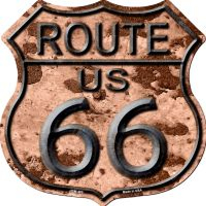 Route 66 Rusty Metal Highway Shield Novelty Metal Magnet