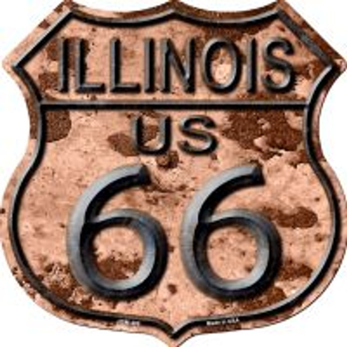Route 66 Illinois Rusty Metal Highway Shield Novelty Metal Magnet