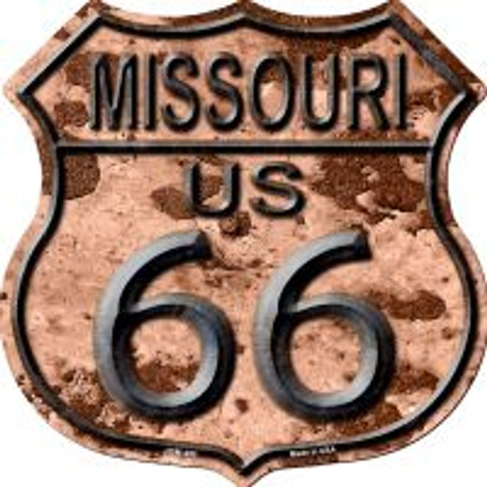 Route 66 Missouri Rusty Metal Highway Shield Novelty Metal Magnet