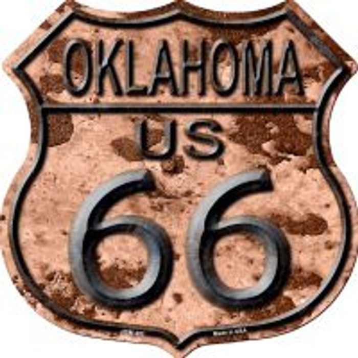 Route 66 Oklahoma Rusty Metal Highway Shield Novelty Metal Magnet