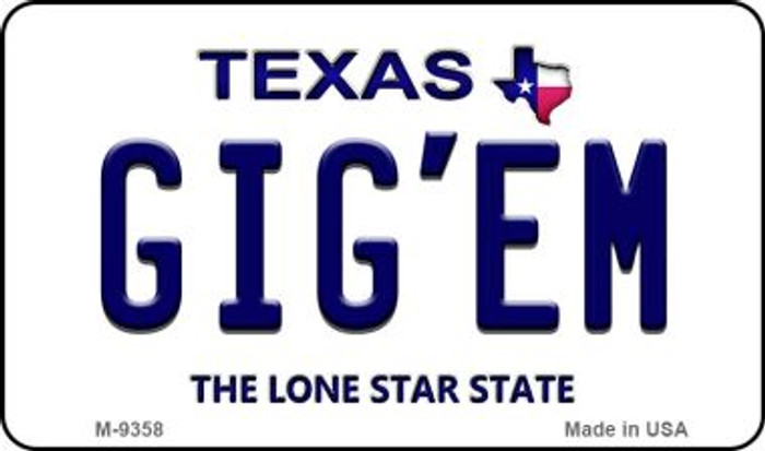 Gig'em Texas Background Novelty Metal Magnet