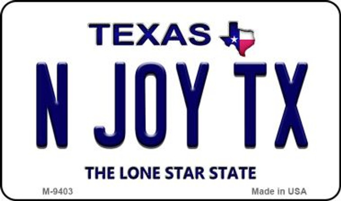 N Joy TX Texas Background Novelty Metal Magnet