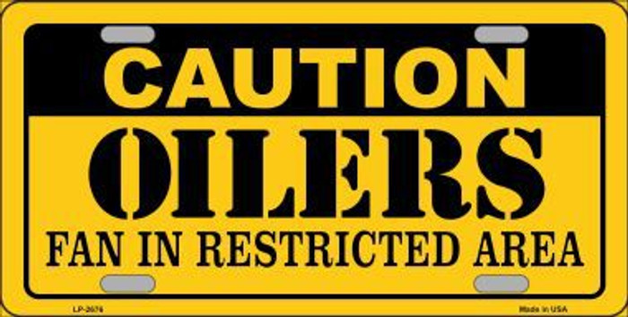 Caution Oilers Metal Novelty License Plate LP-2676