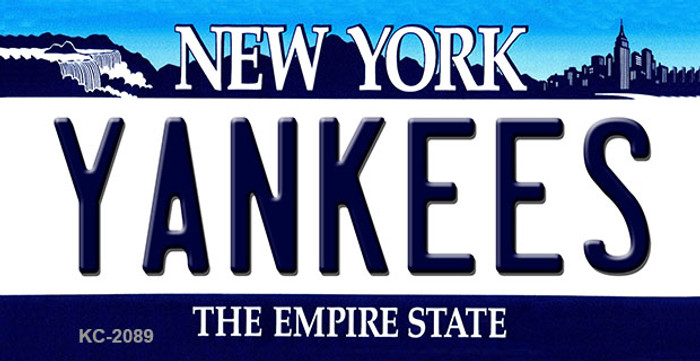 Yankees New York State Background Novelty Metal Key Chain