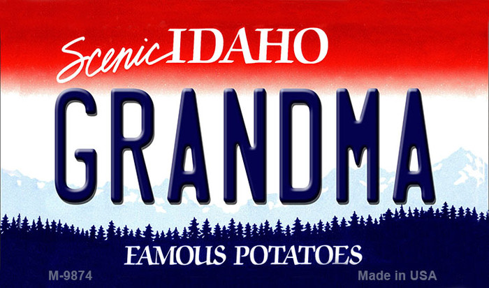 Grandma Idaho State Background Metal Novelty Magnet
