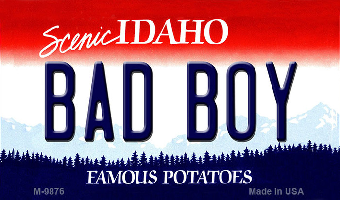 Bad Boy Idaho State Background Metal Novelty Magnet