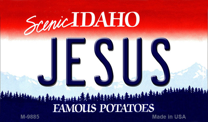 Jesus Idaho State Background Metal Novelty Magnet