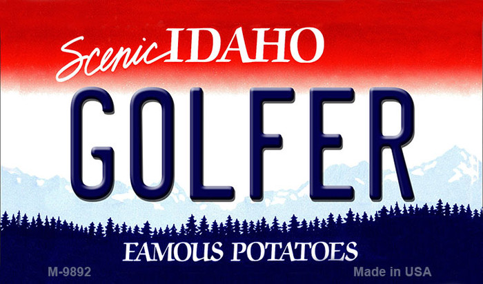 Golfer Idaho State Background Metal Novelty Magnet