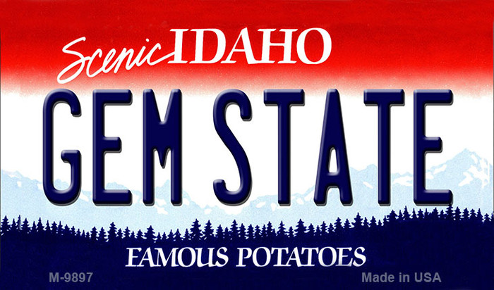 Gem State Idaho State Background Metal Novelty Magnet