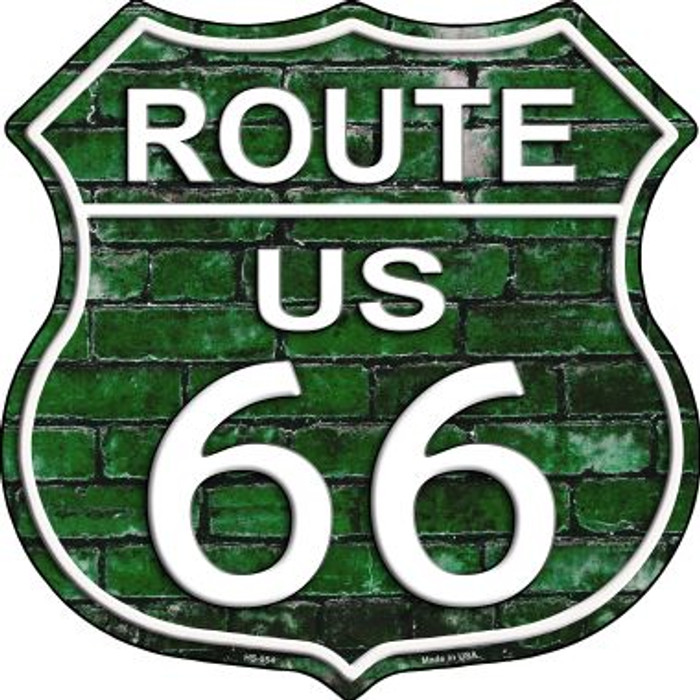Route 66 Green Brick Wall Metal Novelty Highway Shield