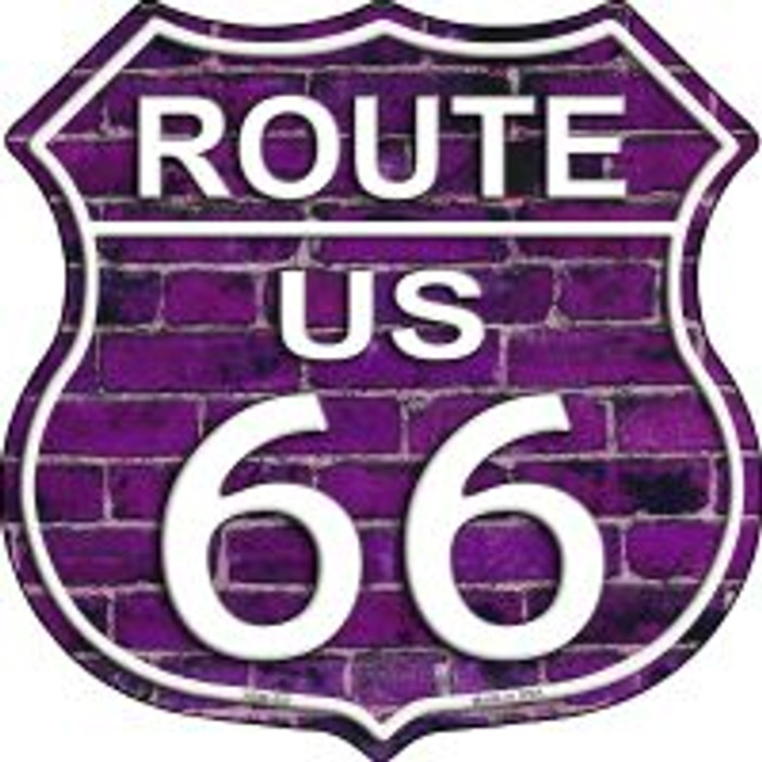 Route 66 Purple Brick Wall Highway Shield Novelty Metal Magnet