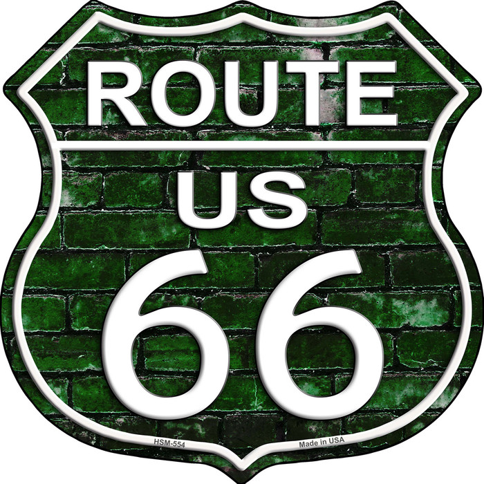 Route 66 Green Brick Wall Highway Shield Novelty Metal Magnet