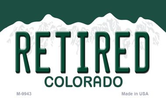 Retired Colorado State Background Metal Novelty Magnet