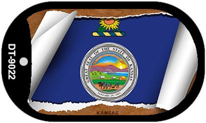 "Kansas State Flag Scroll Dog Tag Kit 2"" Metal Novelty"