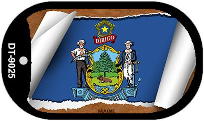 "Maine State Flag Scroll Dog Tag Kit 2"" Metal Novelty"
