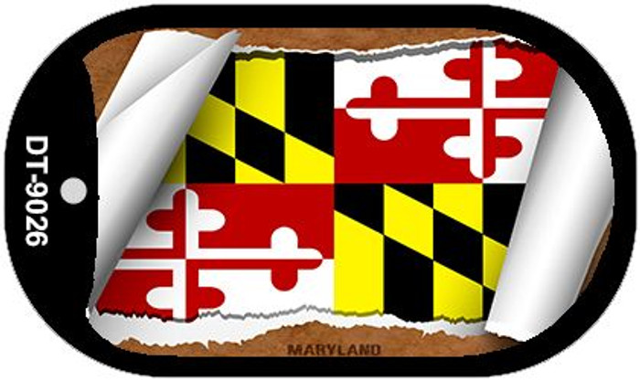 "Maryland State Flag Scroll Dog Tag Kit 2"" Metal Novelty"