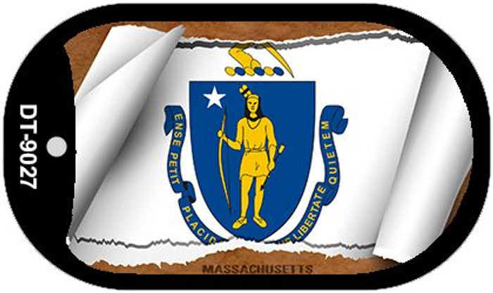 "Massachusetts State Flag Scroll Dog Tag Kit 2"" Metal Novelty"